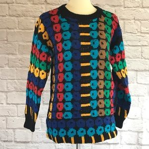 Black/multi Vintage hand knitted sweater, small
